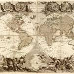 """Vintage Map of The World (1708)"" by Alleycatshirts"