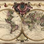 """Vintage Map of The World (1720)"" by Alleycatshirts"