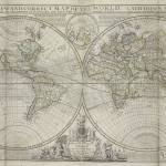 """Vintage Map of The World (1736)"" by Alleycatshirts"