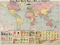 Vintage World Mail Correspondence Map (1917)