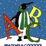 """Penguin in Snow with Letters: Reading is COOL"" by joyart"