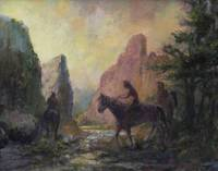 Riders In The Canyon At Twilight