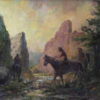 Riders In The Canyon At Twilight Art Prints & Posters by Blaney Harris