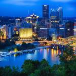 """Pittsburgh Downtown Night Scenic View"" by George_Oze"