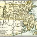 """Massachusetts Antique Map 1891"" by WilshireImages"