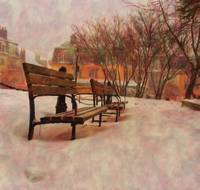 Snowy Park Benches