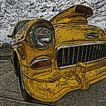 """IMG_4197_edited-1 bel air yellow woodcut"" by pi"