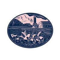 Cranberry Fruit Farm Oval Woodcut
