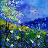 blue wild flowers 676110iv Art Prints & Posters by pol ledent