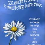 """Serenity Prayer with Daisy Flower, Blue Background"" by joyart"