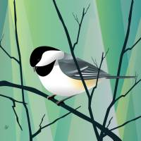 chickadee Abstract Art Prints & Posters by Pixel Paint Studio