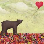 """the bear and the heart shaped balloon"" by sarahkdesigns"