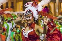 Costumed Attractive Young Woman Dancer at Carnival