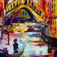Venice Italy Rialto Bridge Gondola in the Shadows Art Prints & Posters by Ginette Callaway
