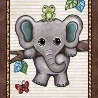 """Swinging Elephant Treetop Jungle Buddies Collecti"" by Littlepig"