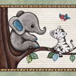 """Little Elephant in a Tree. Treetop Jungle Buddies"" by Littlepig"