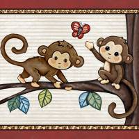 Monkey Friends. Treetop Jungle Buddies Collection Art Prints & Posters by Cheryl Marie