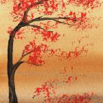 """Abstract Tree Red Fall Painting"" by IrinaSztukowski"