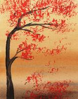 Abstract Tree Red Fall Painting