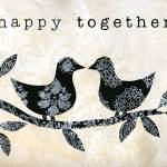 """Black and White Happy Together Birds"" by OneHeartStudio"