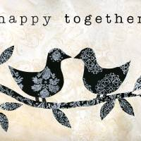 Black and White Happy Together Birds Art Prints & Posters by Caitlin Dundon