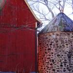 """Fieldstone silo, red barn"" by Anewsgal"