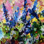 """Blue Delphiniums Impressionist Floral Oil Painting"" by GinetteCallaway"