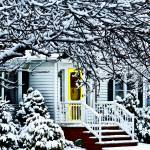"""House With Yellow Door in Winter"" by susansartgallery"