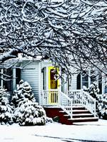 House With Yellow Door in Winter