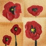 """Red Poppies Abstract Collage"" by IrinaSztukowski"