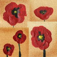 Red Poppies Abstract Collage