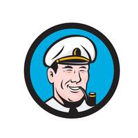 Smiling Sea Captain Smoking Pipe Circle Retro