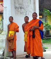 Monks in Saffron Robes Laos