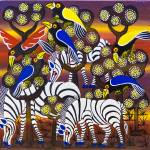 """three zebra blue and yellow crow"" by saidart"