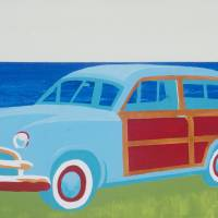 BROTHER PAT'S FIRST CAR 1948 SURF WOODY Art Prints & Posters by Bill Hitchcock