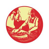 Chinese Cook Chop Meat Oval Circle Woodcut