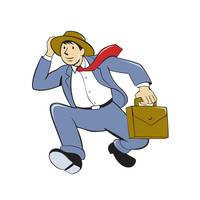 Businessman With Briefcase Running Cartoon