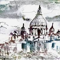 Rome Italy Saint Peter's Basilica Art Prints & Posters by Ginette Callaway
