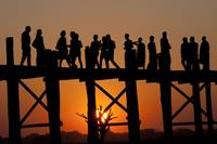 People on the U Bein Bridge in Burma