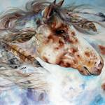 """THUNDER APPALOOSA INDIAN WAR HORSE"" by MBaldwinFineArt2006"