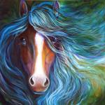 """BLUE MOON DUST EQUINE"" by MBaldwinFineArt2006"