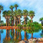 """""""Palm Reflections Sketced"""" by Kirtdtisdale"""