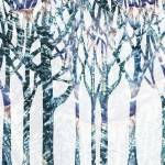 """Winter Landscape Abstract Forest Watercolor"" by IrinaSztukowski"