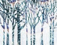 Winter Landscape Abstract Forest Watercolor