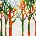 """Fall Landscape Abstract Forest Watercolor"" by IrinaSztukowski"