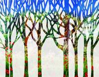 Summer Landscape Abstract Forest Watercolor