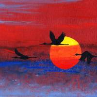 Sandhill Cranes at Sunset; an original painting Art Prints & Posters by Stephen Twite