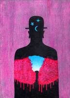 Magritte inluenced original painting, Man in a Hat