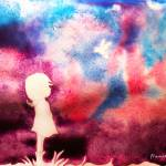"""Purple_Sky_Girl_Bird_Art_Print"" by francisfung"