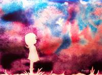 Purple_Sky_Girl_Bird_Art_Print